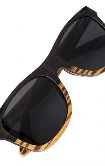 "Hand mage natural Black Walnut & Zebra polarized sunglasses - UNTOLD ""Forest Dream"""