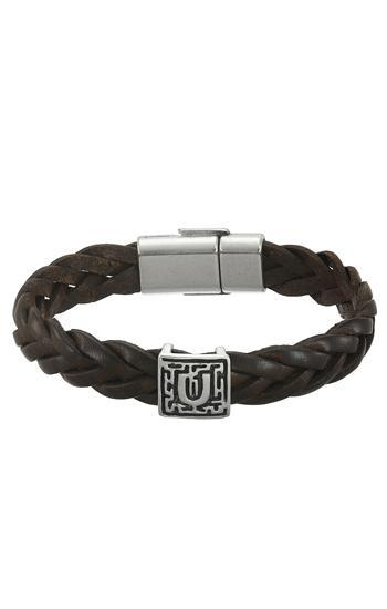 Braided genuine leather bracelet with magnetic clasp