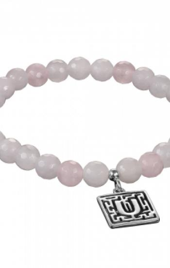 Genuine rose quartz bracelet with 925 silver pendant